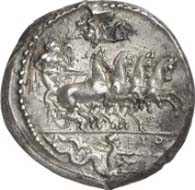 Syracuse (Sicily). Tetradrachm, c. 415-409 B. C. Quadriga galloping r. whose winged charioteer is crowned by Nike. In the exergue Skylla and the signature EYTH. Rev.: Head of Arethusa surrounded by four dolphins. Below, the artist?s signature PHRYGILL/OS. Tudeer 47; Franke-Hirmer 37. Extremely fine. Final Price: 80,500 Euros.