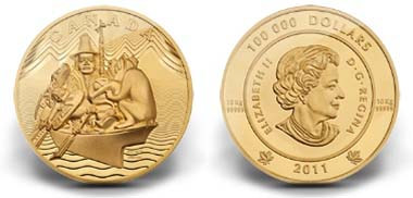 Canada - 100,000 dollar - 999 gold - 10,000 g - 180 mm - Mintage: Made-to-order with a maximum of 15 coins. Design: Bill Reid (reverse), Susanna Blunt (obverse).