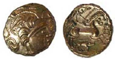 Baiocasses Boar base-gold stater, DT 2254, c. 60-50 BC. Boar above head, cords around. Horse has human head, boar standard below, flag before. La Hougue Bie Museum, Jersey. Source: Olga Finch, Jersey Heritage.