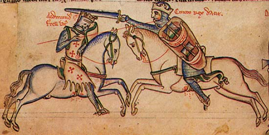 Edmond Ironside (l.) fighting against the victorious Cnut (r.). Illustration 14th cent. Source: Wikipedia.