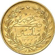 763: Ottoman Empire. Muhammad V, 1909-1918. 500 Kurush 1327 H. on the city visit to Manastir. KM 807. Only 20 specimens were minted. Extremely fine. Estimate: 7,500 EUR. Hammer price: 36,000 EUR.