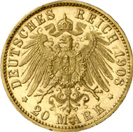 1284: Hamburg. 20 Mark 1908. J. 212. About brilliant uncirculated. Single specimen on the market. Rarest gold coin of the German Empire. Estimate: 125,000 EUR. Hammer price: 110.000 EUR.