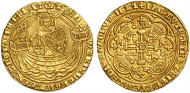 Edward III (1327-1377). Noble, Calais, no year. (1361/69). Mint mark cross. Seaby 1504. From Künker auction 191 (2011), 5169.