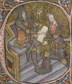 14th century manuscript initial depicting Edward III of England (seated) and his son the Black Prince (kneeling). Source: Wikipedia.