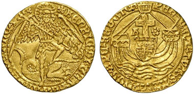 Henry VII (1485-1509). Angel, London, no year. (1495-1498). Seaby 2181. From Künker auction 191 (2011), 5170.