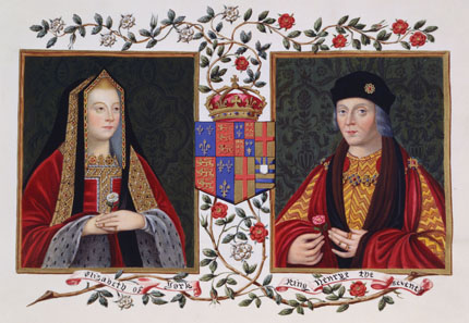 Double portrait of Elizabeth of York and Henry VII, by Sarah Malden, Countess of Essex (c. 1761-1838). From: Lucy Aikin's Memoirs of the Court of Queen Elizabeth, c. 1825. Source: Wikipedia.