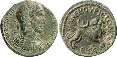 Anemourion. Maximinus Thrax, 235-238. AE. Rv. Lion, above crescent. SNG BN 711. From auktion Gorny & Mosch 186 (2010), 1632.