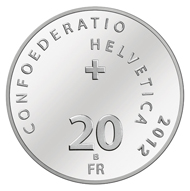 Switzerland - 20 CHF - silver 835 - 20 g - 33 mm - Design: Benno. K. Zehnder - Mintage: max. 50,000 (uncirculated) resp. max. 7,000 (proof).