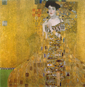 Gustav Klimt, Adele Bloch-Bauer I, 1907. Oil, silver and gold on canvas. New Gallery, New York. Source: Wikipedia.