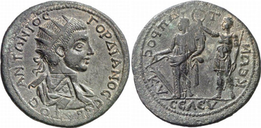 Seleucia. Gordianus III. Rv. Emperor in military habit crowns Tyche of Seleucia. SNG Levante Suppl. 203. From Gorny & Mosch 160 (2007), 2001.