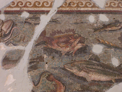 Depiction of fishes on a mosaic. Photo: UK.