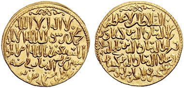 auction 153 / lot 906: Seldjuks of Rum. Sons of Kay Khusru, 646-655 AH (= 1248-1257 A.D.). Dinar 648 AH Konya. album cf. 1227.