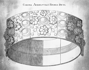 The Langobardic crown. Copper plate engraving by Nicolaus Seelaender (1716). Source: Wikipedia.