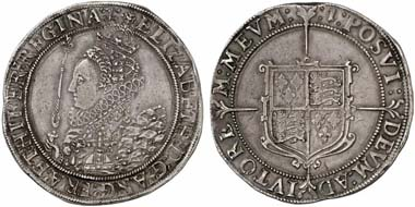 Elizabeth I (1558-1603). Crown, London, no year. (1601/2). Seaby 2582. From Künker auction 184 (2011), 5440.