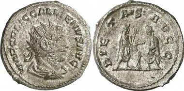 Gallienus. Antoninian, Samosata, 255-256. Rev. Gallienus and Valerian performing a sacrifice. RIC 446. From auction Gorny & Mosch 186 (2010), 2241.