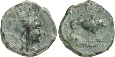 Antiochus I, c. 69-34. Bronze. Rev. pacing lion. From auction Gorny & Mosch 199 (2011), 527.