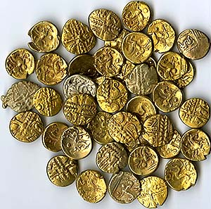 First 42 gold staters from the Buckingham hoard, found 16-17 December 2006.