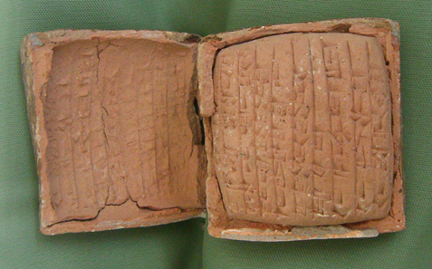 Little tablets with cuneiform script. Photograph: UK.