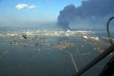 Aerial photograph of Sendai on March 12, 2011. Photo: U.S. Navy / Wikipedia.