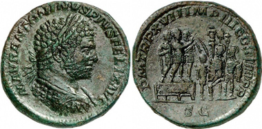 Caracalla, Sestertius, 214. Rv. Caracalla standing on a platform with two officers speaking to soldiers with standards. From Gorny & Mosch auction 180 (2009), 412.