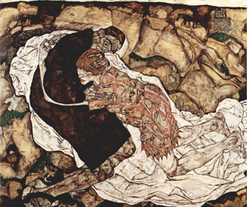 Egon Schiele, Death and the Woman, 1915. Oil on canvas. Austrian Gallery, Vienna. Source: Wikipedia.
