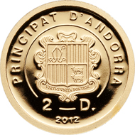 Andorra, 2 diners, 2012, gold .9999, 1/25 oz., 13.92 mm, Mintage: 5,000.