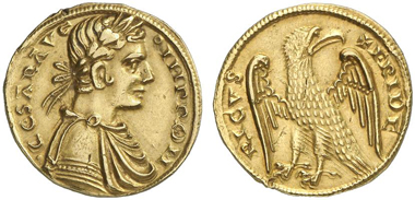 4119: Sicily (Italy). Frederick II, 1197/1220-1225. Augustalis, Messina, n. d. MEC 515var. Test cut at edge. Very fine to extremely fine. Estimate: 10,000 euros. Prize realized: 36,800 euros.
