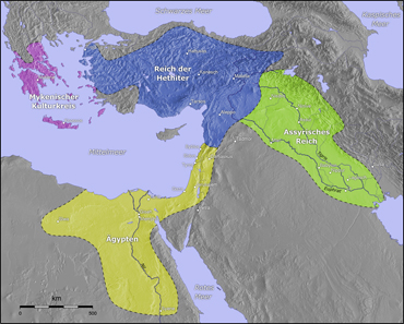 Map of the Hittite Empire. Source: Wikipedia / http://gmt.soest.hawaii.edu.