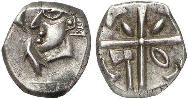 Drachm, probably of the Volcae Tectosages from the 1st cent. B. C. From auction Künker 204 (2012), 50.