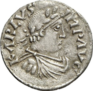 1405: CAROLINGIANS. Charlemagne (768-814). Denarius 800 or 812. Depeyrot 1166. M./G. 317. Of utmost rarity, about EF. Estimate: 30,000 euros, hammer price: 160,000 euros.
