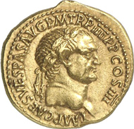 569: ROME. Vespasian (69-79). Aureus, 72. BMC 402. Calico 627 b. Coh. 139. RIC 2nd edition 1179. Rare, small scratches on the rev., attractive EF. Estimate: 12,500 euros, hammer price: 135,000 euros.