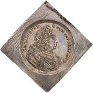 5411: REGENSBURG. 5 reichstalerklippe n. d. (1711-1740), with title of Charles VI. Beckenb. - (cf. 6172). Dav. - (cf. 2613). Probably unique specimen, EF. Estimate: 10,000 euros, hammer price: 28,000 euros.