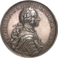 4616: PRUSSIA. Frederick II the Great (1740-1786). Silver medal 1758 on the Battle of Zorndorf. F. u. S. 4403. Old. 648. Of great rarity, EF, finely toned. Estimate: 1,000 euros, Hammer price: 5,000 euros.