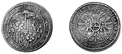 CONSTANCE. Marcus Sitticus of Hohenems as Bishop of Constance 1561-1589. Gulden taler of 60 kreuzer, 1573. Crest, cardinal?s hat above. Rev. Haloed imperial eagle, on the chest imperial orb with the value number 60. Year 15-73. Berst. 405var. Museum zu Allerheiligen inv. N10651. From auction sale Leu Numismatik AG 73 (1998), 967.