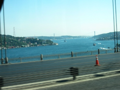 Crossing Bosporus by bus. And there we were, back in Europe. Photograph: KW.