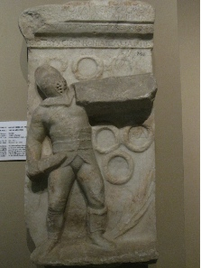 Grave stele of a gladiator from Tralleis. Photograph: KW.