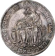 SALZBURG. Wolf Dietrich of Raitenau, Prince Bishop 1587-1612. Taler n.d. Crest of Wolf Dietrich under legate hat. Rev. Enthroned Saint Rupert. Dav. 8184. From auction sale Numismatik Lanz 127 (2005), 272.