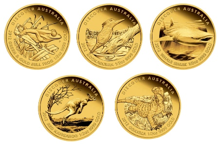 Australia / Each of the coins is available as: 50 AUD / 1/2oz 9999 gold / 15.554 g / 25.60 mm / Mintage: 500 // 15 AUD / 1/10oz 9999 gold / 3.111 g / 16.60 mm / Mintage: 1,000 // 5 AUD / 1/25oz. 9999 gold / 1.244 g / 14.60 mm / Mintage: 2,500. All coins available in set.