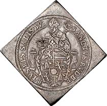 SALZBURG. Wolf Dietrich of Raitenau, Prince Bishop 1587-1612. Double taler klippe 1593. Rupert holding the crest of the Prince Bishop. Rev. RESISTIT IMMOTA (= Steady he may stand. Tower in storm-tossed sea, buffeted by the winds, hit by hail. Dav. 8198. From auction sale Numismatik Lanz 127 (2005), 258.