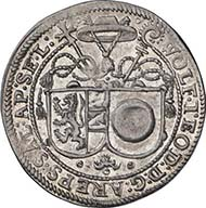 SALZBURG. Wolf Dietrich of Raitenau, Prince Bishop 1587-1612. 1/8 taler (= half ortstaler) n.d. Shield of diocese and family. Rev. Legate hat. Enthroned Saint Rupert. Probszt 852. From auction sale Numismatik Lanz 127 (2005), 289.