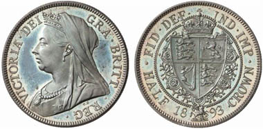 Victoria (1837-1901). Half-crown 1893, London. From Künker auction 131 (2007), 4189.