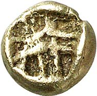 This twelfth part of a stater (sale Gorny & Mosch 186, 2010, no. 1375), which scholars have attributed to Phanes, tripled its estimate of 300 Euro: It sold for 920 Euro.