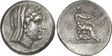 Byzantion (Thrace). Tetradrachm, 3rd cent. Demeter. Rev. Poseidon, holding an aphlaston in the elevated right hand. Schönert-Geiss 1002. From auction Gorny & Mosch 199 (2011), 142.