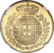 Joao VI (as King) gold 6400 Reis 1822-R, KM328, AU58 NGC, nicely struck with lustrous surfaces. Estimate: $80,000 - $100,000. Realized: $138,000.
