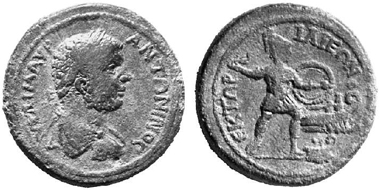Ilion (Troas), AE, Caracalla, 197-217. Rev. Hector to the right, throwing a torch at the ships of the Greeks. BMC 92, pl. XIII, 9 (rev. same die). From auction Numismatik Lanz 109 (2002), no. 632.