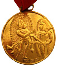 The Numismatic Society of India Chakravikrama gold medal awarded to ONS members Ellen Raven and Michael Mitchiner in 2010.