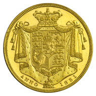 2 pound gold coin of William IV, 1831.