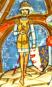 Charles I of Hungary from Chronicon pictum, Marci de Kalt, Chronica de gestis Hungarorum (Képes Krónika), Széchényi Nationalbibliothek, Budapest. Source: Wikipedia.