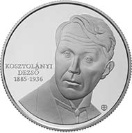 Commemorative Coin in honor of Dezsö Kosztolányi. Fineness: 925 Ag; Diameter: 38,61 mm; Gross weight: 31,46 g.; Face Value: 5.000 HUF; Designer: István Holló.