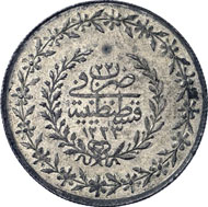 A 210, Lot 1722: OTTOMAN. Mahmûd II. 1223-1255 H. New beshlik 1223 H. Ölçer -; KM -. RRR, perfect strike. Extremely fine. Estimate: 2,000 EUR. Hammer price: 7,500 EUR.